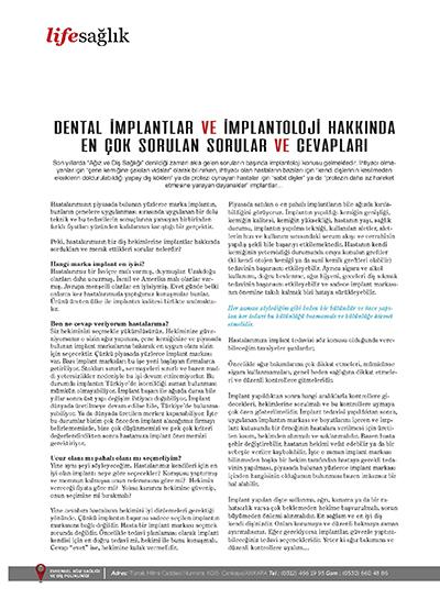 Zerrin Tüfekçi - Dental İmplantlar ve İmplantoloji Hakkında En Çok Sorulan Sorular ve Cevapları