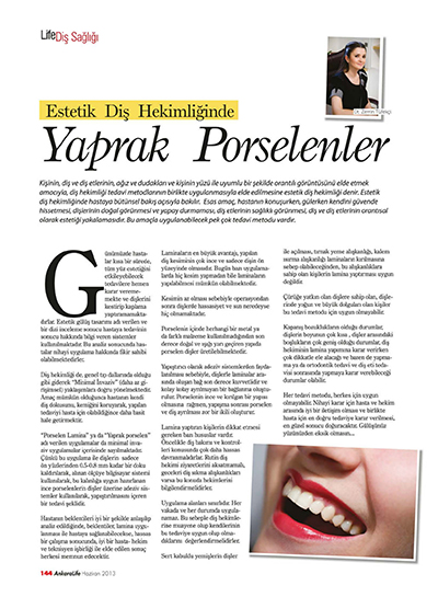Zerrin Tüfekçi - Estetik Diş Hekimliğinde Yaprak Porselenler