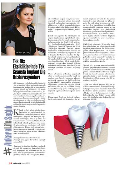 Zerrin Tüfekçi - Tek Diş Eksikliklerinde Tek Seansta İmplant Diş Restorasyonları